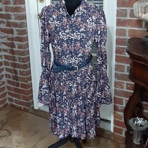 Michael Kors 2 PC dress navy blue bell slv M EUC